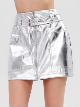 Yes Fall and Spring and Summer Zipper Solid A-Line Mini Daily and Going Fashion Shiny PU Leather Mini Skirt