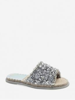 Summer PU 2CM Rubber Sequined Solid Slip-On Flat Slides Beach and Casual and Daily Fashion For Sequin Straw Flat Slides Sandals