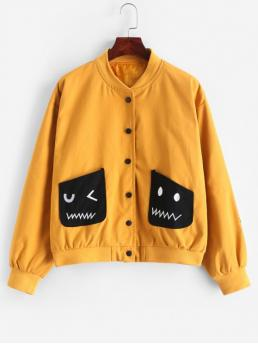 Autumn Embroidery and Pockets Gingham Stand-Up Full Regular Wide-waisted Casual Jackets Daily Gingham Panel Embroidered Snap Button Bomber Jacket
