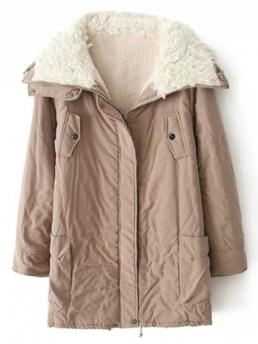 Fall and Spring and Winter Fashion Zippers Solid Turn-down Full Long Slim Others Zip-Up Lamb Wool Coat