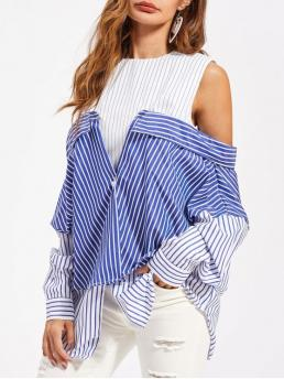 Fall and Spring Stripe Round Full Regular Casual Convertible Striped Tunic Shirt