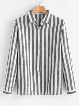 Gray Autumn and Spring Striped Full Regular Shirt Fashion Daily Button Down Striped Shirt