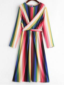 No Fall and Spring Striped Long Round Mid-Calf A-Line Day Fashion Draped Rainbow Striped Dress
