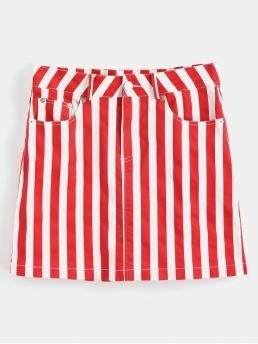 No Fall and Spring Zipper Pockets Striped A-Line Mini Daily and Going Fashion High Waisted Stripes Mini Skirt