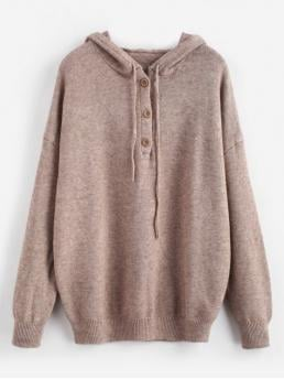 Autumn and Spring and Winter Button Elastic Full Drop Hooded Regular Loose Casual Daily Pullovers Half-button Hooded Sweater