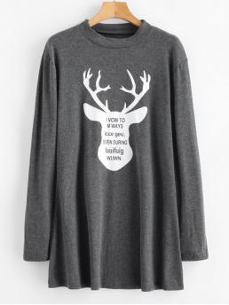 No Fall and Spring Animal Long Crew Mini Tee A-Line Casual and Day Brief Elk Print Christmas Mini Tee Dress