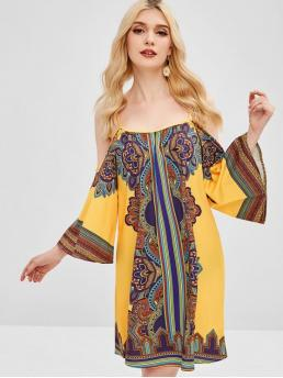 No Fall and Spring and Summer Print 3/4 Spaghetti Knee-Length A-Line Day Fashion African Print Cold Shoulder Tunic Dress
