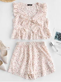 Summer Ruffles Floral Flat Elastic High Sleeveless V Regular Casual Casual and Going Floral Print Knotted Top and Shorts Set