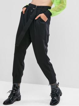 Fall and Winter Yes Elastic Jogger Solid Pockets Regular High Casual Pocket Buttoned Belted Jogger Pants