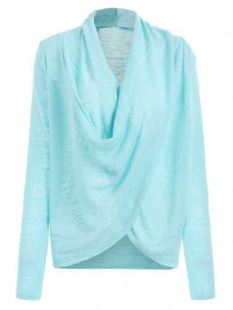 Women's Full Sleeve Pullovers Polyester Solid Cross Drape Wrap Sweater