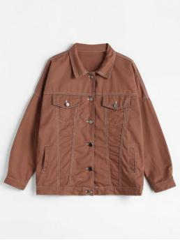 Autumn and Spring Button Solid Turn-down Full Regular Wide-waisted Casual Jackets Multi Pockets Stitching Motorcycle Jacket