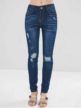 Fall and Spring and Winter Pocket and Ripped Zipper Mid Skinny Normal Dark Denim Fashion Pencil Ripped Dark Wash Skinny Jeans