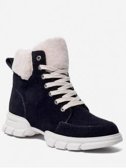 Suede Fur Lace-Up Patchwork Chunky Round Ankle Winter Fashion For Faux Fur Trim Lacing Sneaker Boots