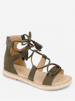 Suede 2 Rubber Solid Lace-Up Flat Gladiator Casual Fashion For Lace-up Design Gladiator Sandals