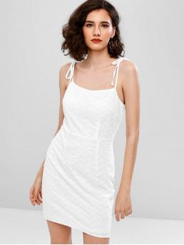 No Summer Solid Embroidery Sleeveless Spaghetti Mini Sheath Casual  and Day Fashion Embroidered Eyelet Cami Tie Shoulder Dress