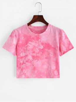 Summer Tie Elastic Short Round Crop Fashion Short Sleeve Tie Dye Cropped Tee