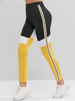 Fall Full Patchwork and Striped High Daily Casual Side Striped Color Block High Waist Leggings