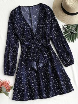 Fall and Spring No Solid Ruffles Long V-Collar Mini Casual  and Going Belted Polka Dot Ruffle Mini Dress