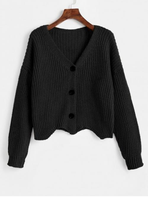 Autumn and Spring Scalloped Solid Elastic Full Drop V-Collar Regular Loose Casual Daily Cardigans Scalloped Chunky Cardigan