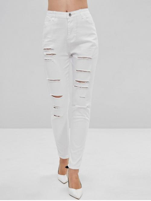 Fall and Spring No Zipper Pencil Solid Pockets Skinny Mid Fashion Destroyed Skinny Pants