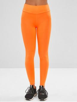 Fall Solid High Daily Casual Neon High Waisted Skinny Leggings