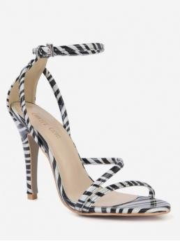 10CM Summer PU PU Rubber Dress Stiletto Round Open Ankle Zebra Stripe Ankle Strap Pumps