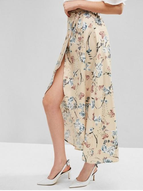 Nonelastic Summer Tie Floral Asymmetrical Ankle-Length Daily Fashion Floral Maxi Wrap Skirt