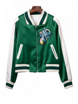Embroidery Floral Stand-Up Full Wide-waisted Casual Jackets Embroidered Green Baseball Jacket