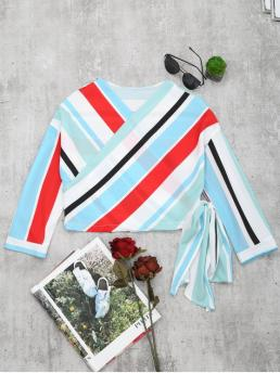 Striped Full Short V-Collar Casual Casual V Neck Striped Crop Wrap Blouse