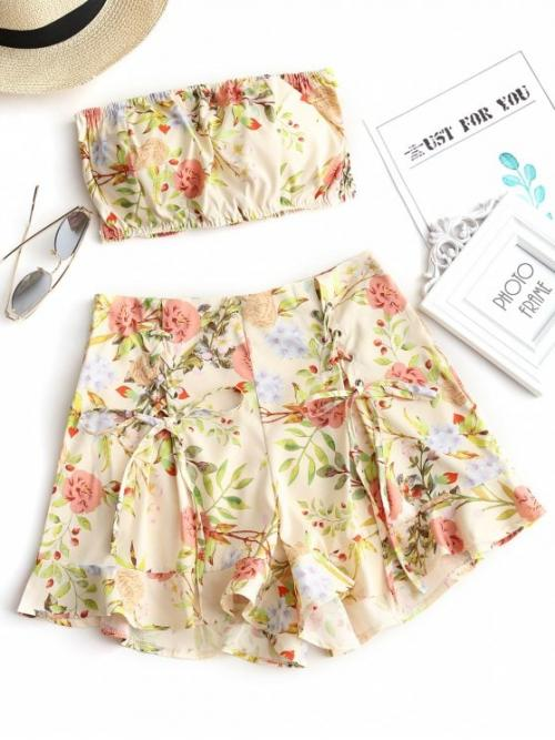 Floral Flat Zipper High Strapless Regular Casual and Going Smocked Floral Bandeau Top and Shorts Set