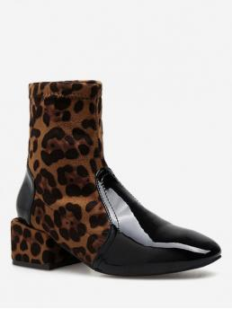 Synthetic Slip-On Leopard 4CM Chunky Round Ankle Winter Fashion For Leopard Print Square Toe Chelsea Ankle Boots