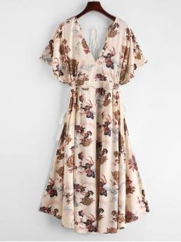 No Fall and Spring and Summer Floral Tassel 3/4 Batwing Plunging Mid-Calf A-Line Beach and Vacation Fashion Batwing Floral Cut Out Midi Dress