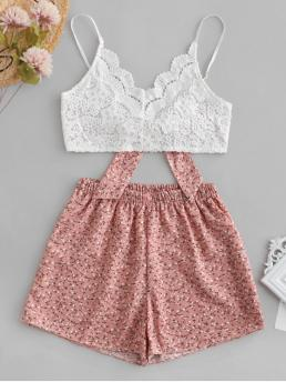 Summer Criss-Cross and Lace Floral Flat Elastic High Sleeveless Spaghetti Regular Casual Casual Floral Print Lace Panel Cami Shorts Set