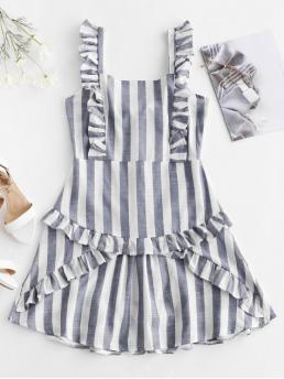 No Summer Nonelastic Striped Ruffles Sleeveless Square Mini A-Line Day Fashion Tied Back Ruffles Stripes Mini Dress