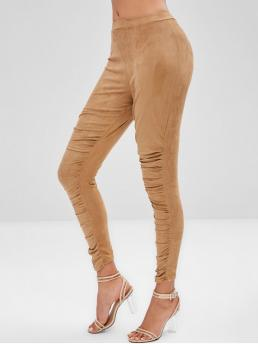 Fall and Spring Ruched Solid Elastic High Daily Fashion Ruched Suede Leggings