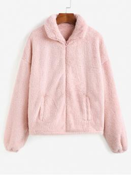 Autumn Solid Zipper Turn-down Drop Full Regular Wide-waisted Casual Fur Daily x Yasmine Bateman Solid Color Faux Fur Zip Up Jacket