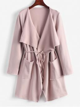 Autumn and Spring and Winter Yes Elastic Pockets and Sashes Solid Turn-down Full Long Skirted Daily and Going Fashion Belted Skirted Patched Pockets Waterfall Coat