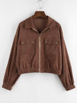 Full Sleeve Wide-waisted Polyester Solid Pocket Jacket Fashion