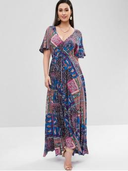 No Fall and Spring and Summer Empire Floral and Paisley Short Butterfly Plunging Floor-Length A-Line Casual and Vacation Fashion Flower Butterfly Sleeve Maxi Dress