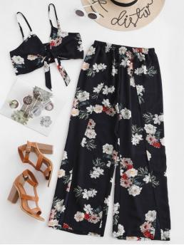 No Summer Slit Floral Flat Elastic High Nonelastic Sleeveless Spaghetti Loose Fashion Beach Floral Knotted Top And Slit Wide Leg Pants Set