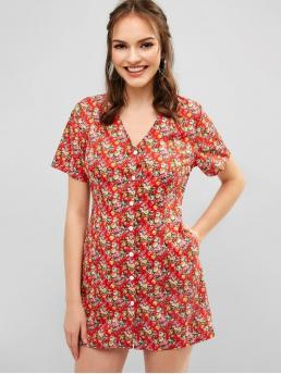 No Summer Nonelastic Floral Pockets Short V-Collar Mini A-Line Casual and Day Brief Tiny Floral Dress