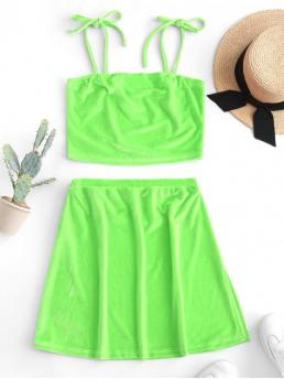 Summer Solid Flat Elastic High Sleeveless Spaghetti Regular Fashion Club and Going Velvet Cropped Cami Top and Slit Mini Skirt Set