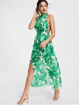 Summer No Print Backless Sleeveless Ankle-Length High Beach Beach Brief Leaves Print Open Back Slit Maxi Dress