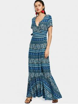Summer No Print Flounce Short Plunging Floor-Length Beach Printed Flounces Wrap Maxi Dress