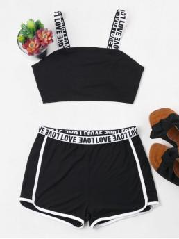 Spring and Summer Letter Flat Elastic High Sleeveless Square Regular Casual Casual and Sports Letter Contrast Trim Shorts Tracksuit