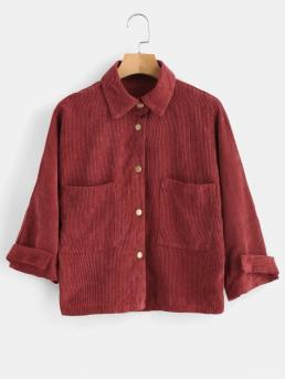 Nonelastic Autumn and Spring Front Solid Single Shirt Three Regular Bat Fashion Jackets Daily Front Pockets Corduroy Jacket