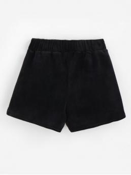 Autumn and Spring No Pockets Solid Flat Elastic Mid Regular Fashion Pockets Velvet Shorts