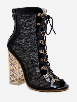 Mesh Rubber Lace-Up Patchwork 12CM Chunky Peep Ankle Spring/Fall and Summer Fashion For Shiny Metallic Lace Up High Heel Boots