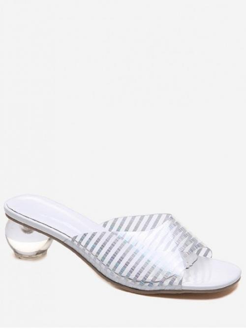 Summer PU 5cm Rubber Striped Slip-On Others Slides Casual Basic For Square Toe Round Crystal Heel Sandals