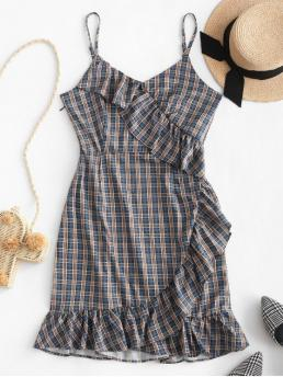 No Summer Nonelastic Plaid Ruffles Sleeveless Spaghetti Mini A-Line Day Fashion Plaid Ruffles Cami Mini Dress